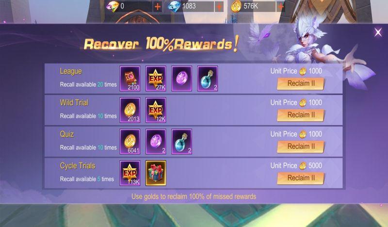 eternal sword m recovery rewards