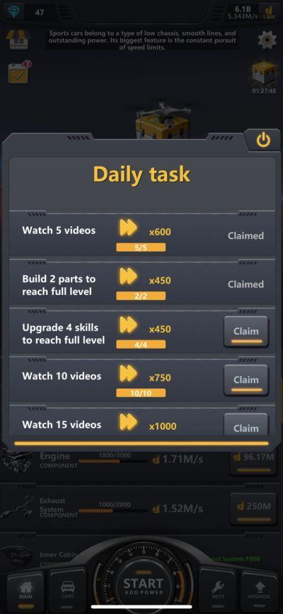 idle assemble car daily tasks