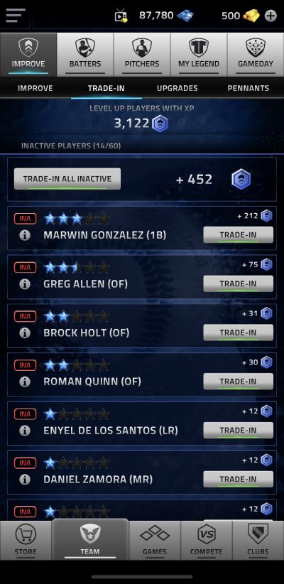 howt to trade-in a player in mlb tap sports baseball 2020