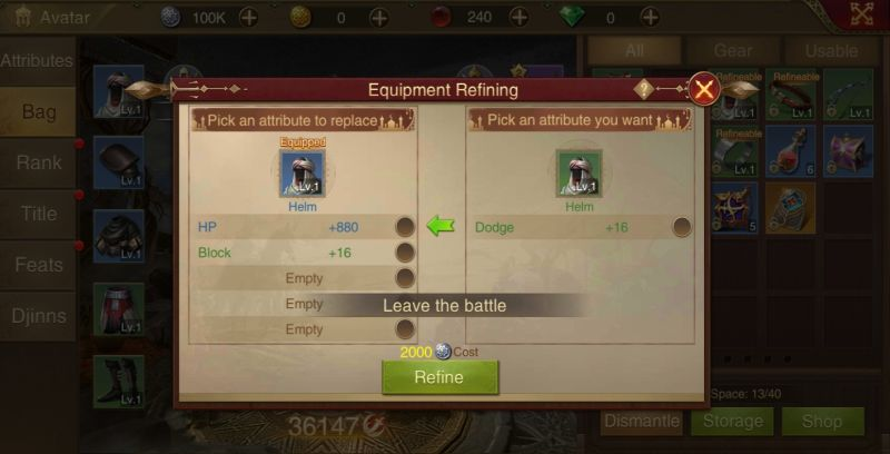 how to upgrade gear in saga of sultans
