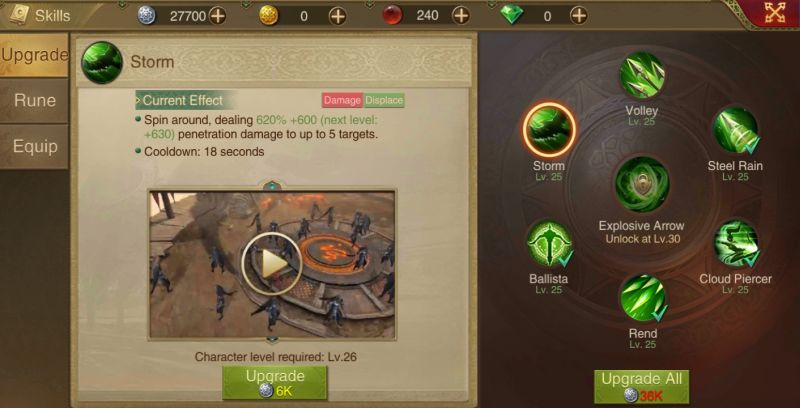 how to upgrade skills in saga of sultans