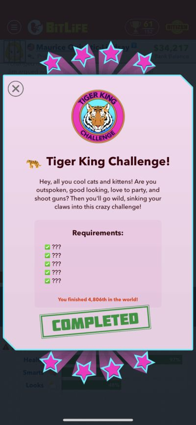 bitlife tiger king challenge requirements