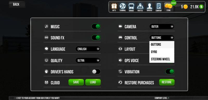 bus simulator ultimate controls