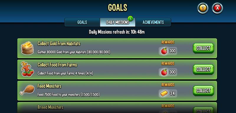 monster legends goals