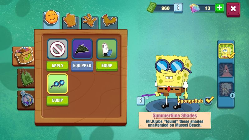 how to change character outfits in spongebob krusty cook-off