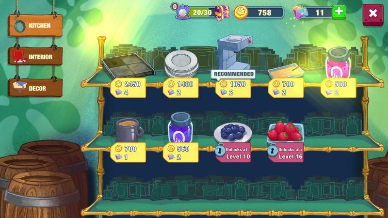 how to upgrade kitchen in spongebob krusty cook-off