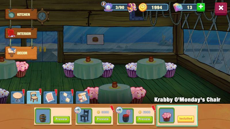 how to change restaurant decor in spongebob krusty cook-off