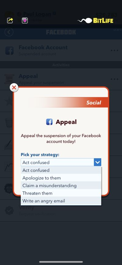 how to avoid social media account suspension in bitlife
