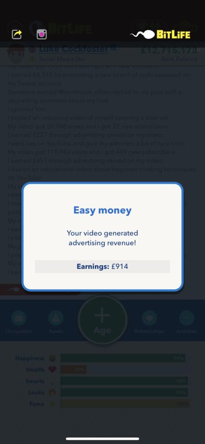 how to earn money on social media in bitlife
