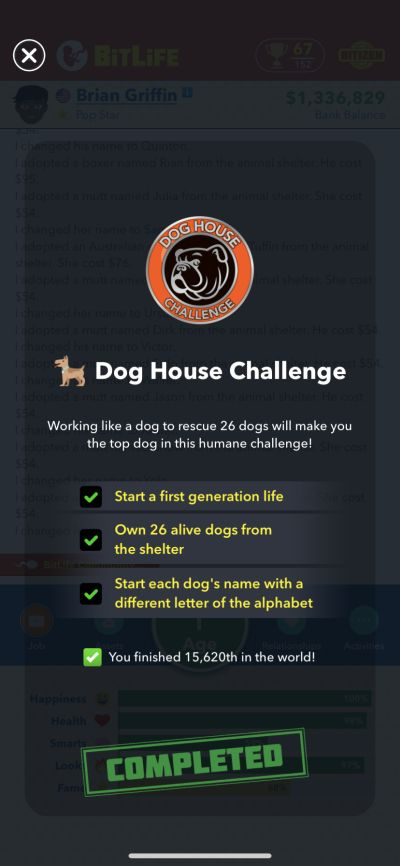 bitlife dog house challenge requirements