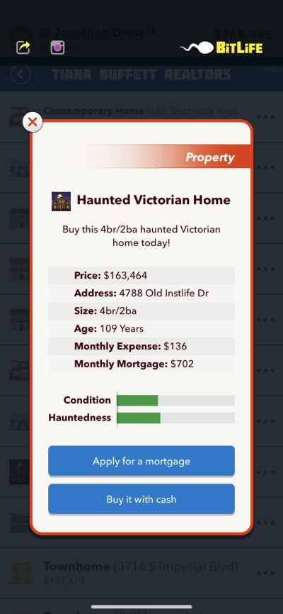 haunted home in bitlife