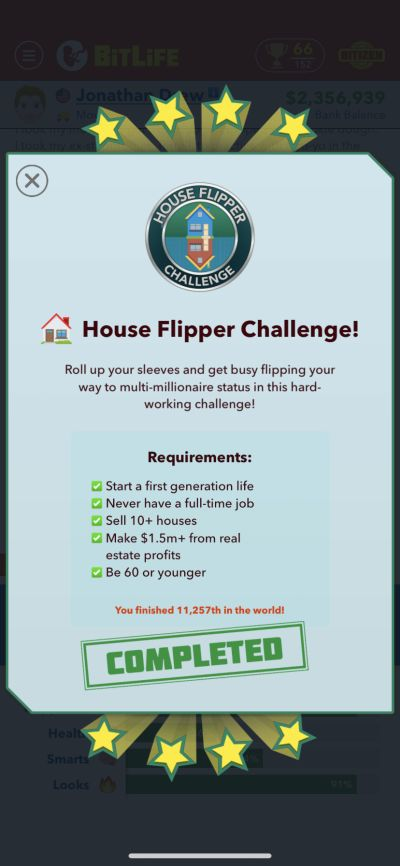 bitlife house flipper challenge requirements
