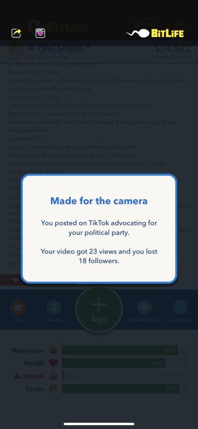 how to lose followers in bitlife