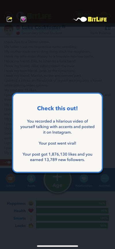 how to become internet famous in bitlife