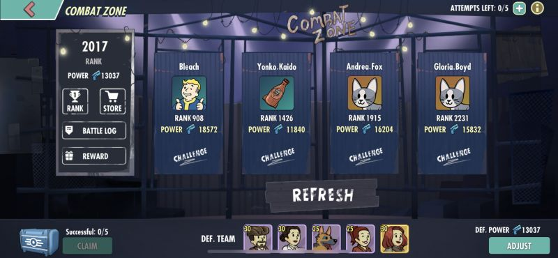 fallout shelter online combat zone ranking