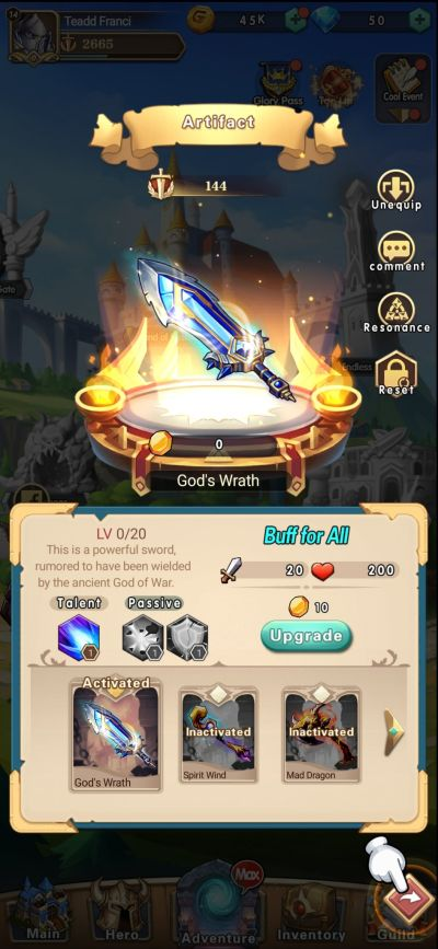 how to upgrade artifacts in brave dungeon