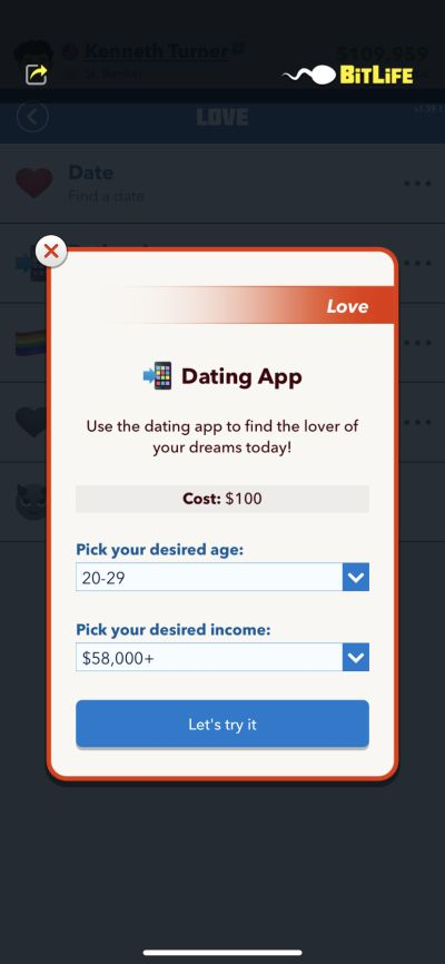 how to use the dating app in bitlife