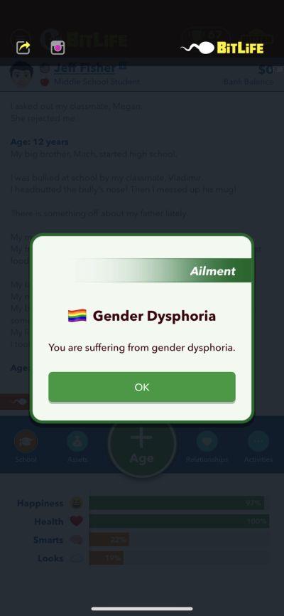 gender dysphoria in bitlife