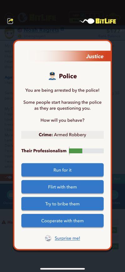 police arrest in bitlife