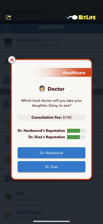 taking daughter to the doctor in bitlife