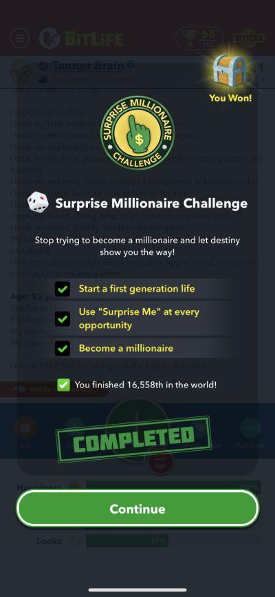 bitlife surprise millionaire challenge requirements