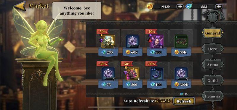 idle arena evolution legends market