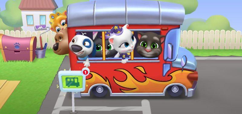 my talking tom friends bus trip