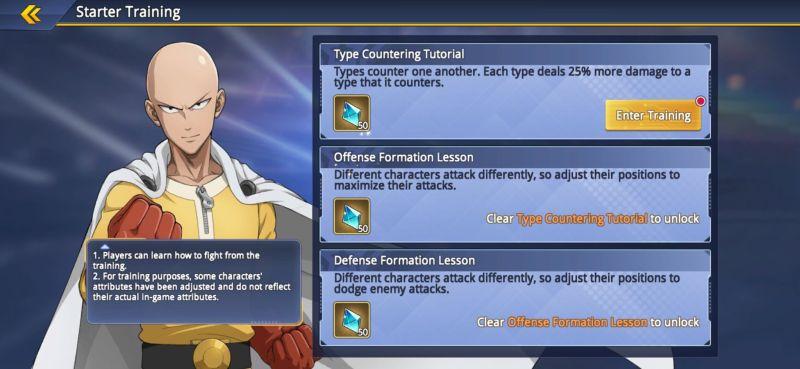 one punch man road to hero 2.0 starter training