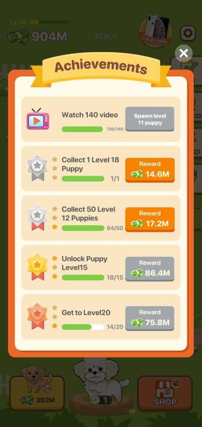 puppy town achievements