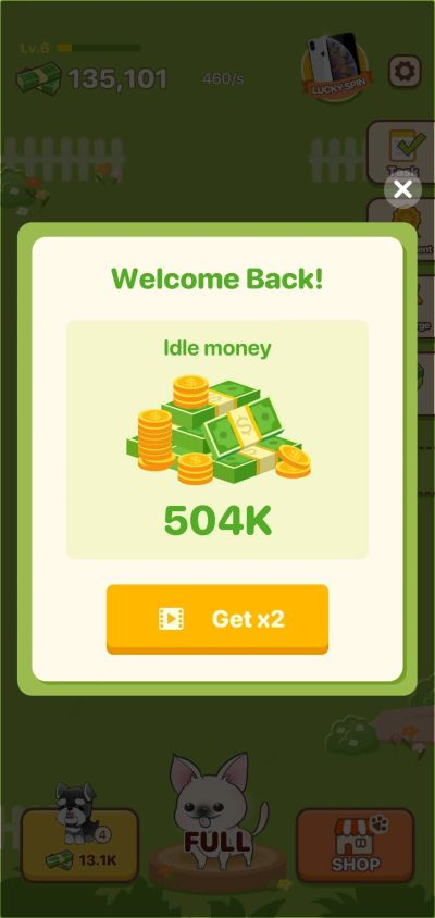 how to earn idle money in puppy town