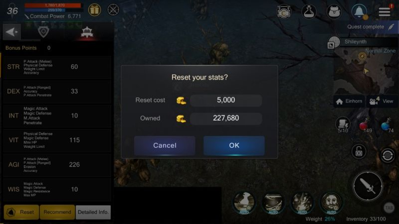 how to reset stats in rohan m