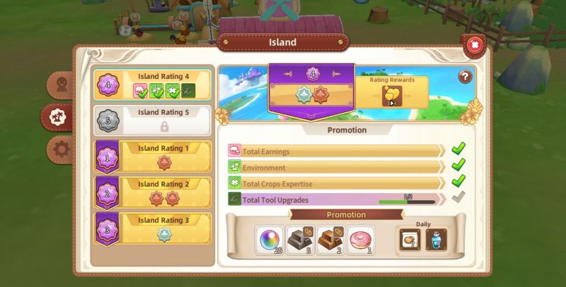 how to improve island's rating in tour of neverland