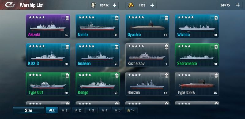 list of warships in warship legend