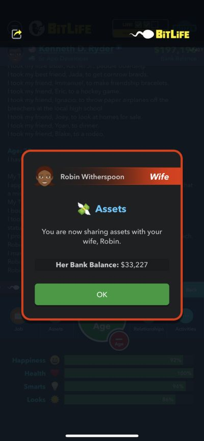 sharing assets with wife in bitlife