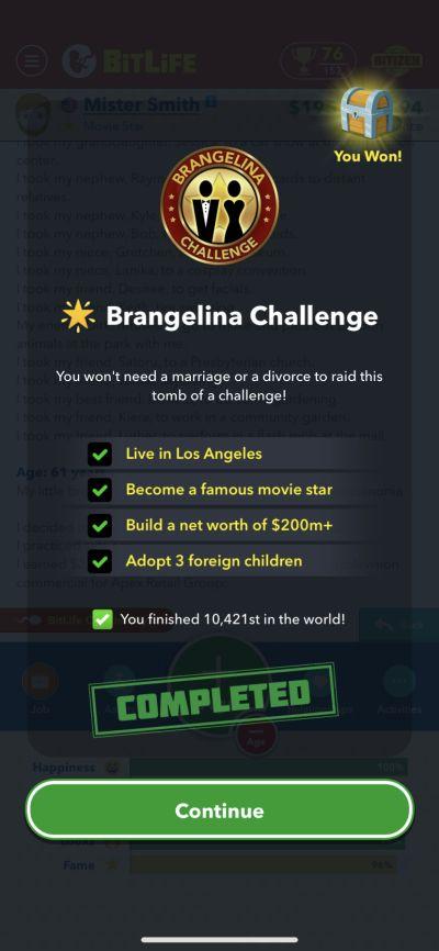 bitlife brangelina challenge requirements