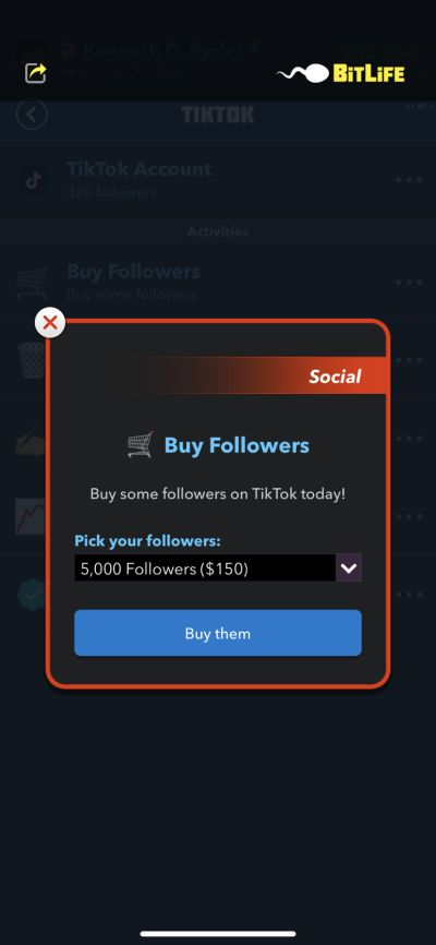 buying followers in bitlife