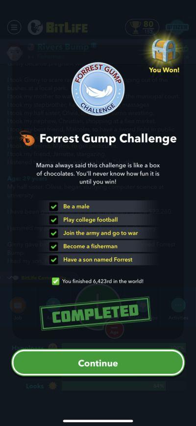 bitlife forrest gump challenge requirements