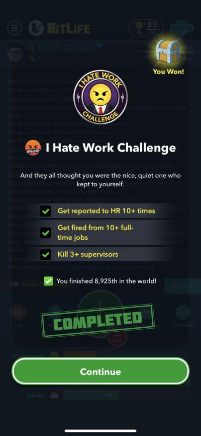 bitlife i hate work challenge requirements