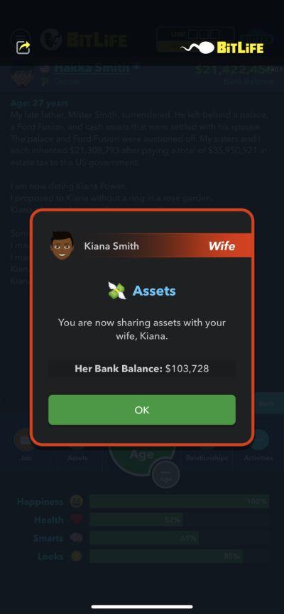 sharing assets in bitlife