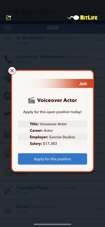 voiceover actor job in bitlife
