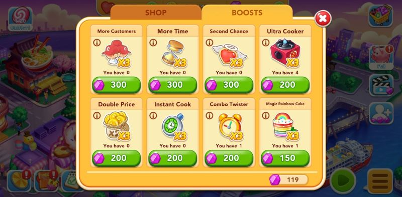 cooking frenzy end level boosts