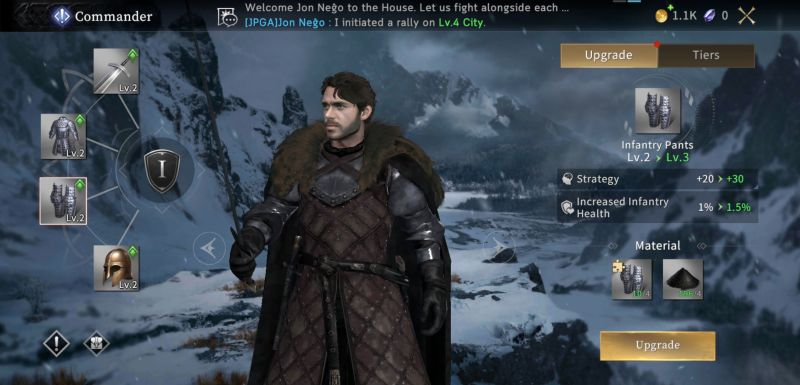 how to power up commanders in got winter is coming m
