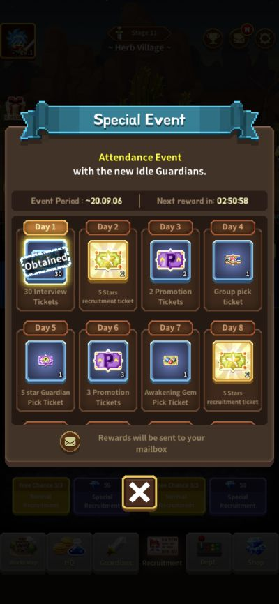 idle guardians special event