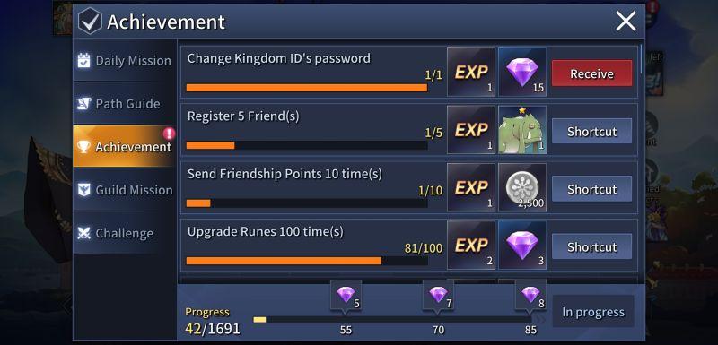 kingdom of heroes tactics war achievements