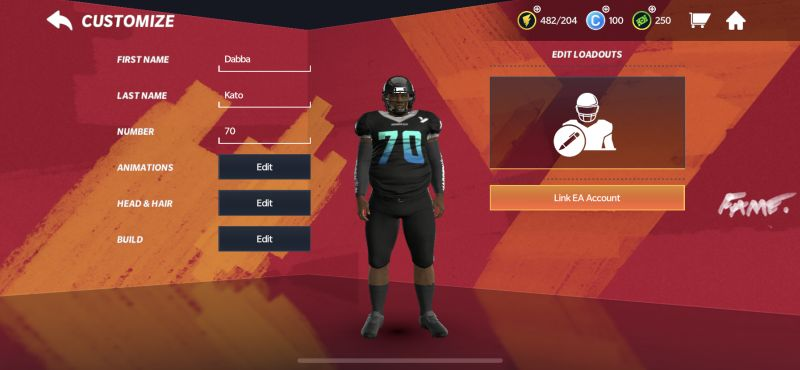 character customization in madden nfl 21 mobile