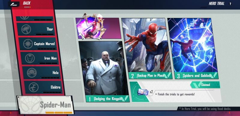 how to complete the hero trial in marvel duel