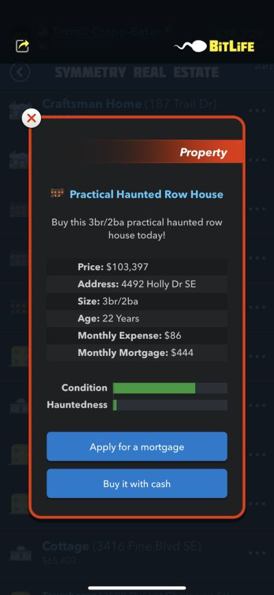 bitlife practical haunted row house