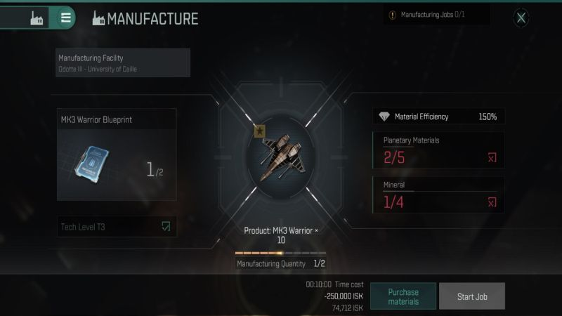 industry manufacturing in eve echoes