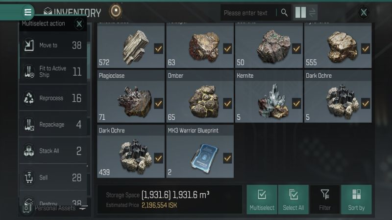 eve echoes inventory and stacking