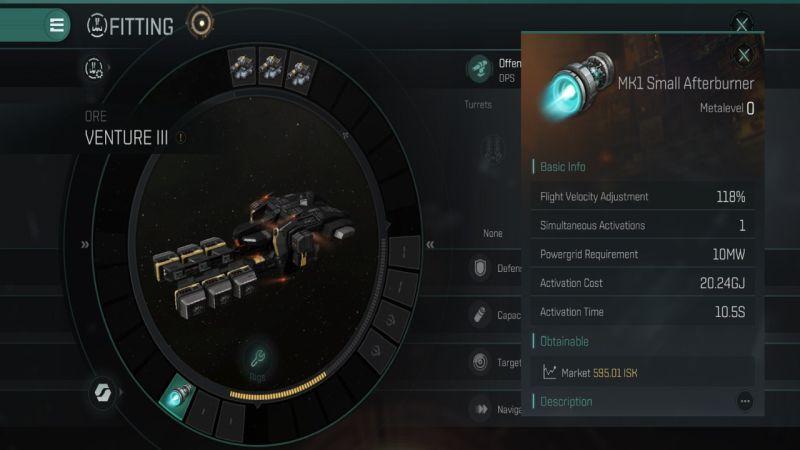 Eve Echoes Venture III устанавливает малый форсажный режим MK1